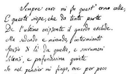 """manoscritto della poesia """"L'infinito"""" di Giacomo Leopardi. In questo frammento si vedono i primi versi della poesia scritti dal poeta stesso, con la sua grafia."""